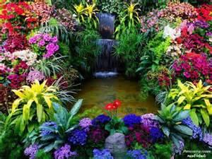 waterfall flower garden